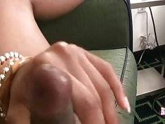 Breasted Black Tranny Plays With Her Dick 2