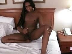 Lovely Black T-Girl Megan Porter Rubs Her Dick 2