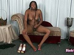 Fleshy Black She-Male Is Stripping For You 3