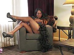 Stunning Vivian Spice Strokes Her Hard Dick!